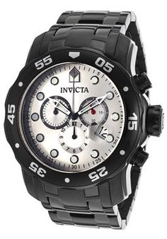 Men's Pro Diver Chronograph Silver Dial Black Stainless Steel