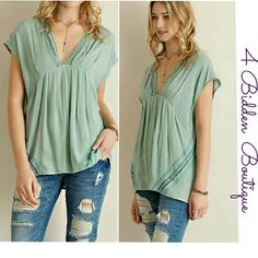 NEW CHIC SAGE TOP Solid empire waist top featuring crochet detailing throughout. Side pockets. Non-sheer. Unlined. Woven. Lightweight Available in S,M,L 100%RAYON 4 Bidden Boutique Tops Blouses