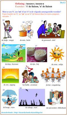Oefening : moet er een 'S', een 'EN' of een 'E' in de samengestelde woorden? / Exercice : faut-il mettre un 'S', un 'EN' ou un 'E' dans les mots composés en néerlandais? + Oplossingen / solutions : http://docnederlands.skynetblogs.be/archive/2015/12/03/exercice-2-le-s-et-le-n-de-liaison-dans-les-mots-composes-de-8536886.html