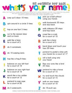 Spell Your Name Workout - What's Your Name? Fitness Activity Printable for Kids What's your name? Fitness activity for kids. Your kids will get a workout without realizing it when you make fitness into a fun game. Physical Activities For Preschoolers, Exercise Activities, Name Activities, List Of Activities, Fitness Activities, Exercise For Kids, Gym For Kids, Movement Activities, Indoor Activities
