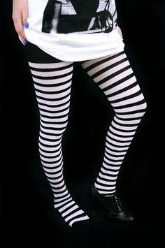 7,00e Stockings w/ Stripes -Black/white