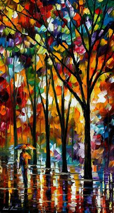 "THE SPECTRUM OF THE RAIN — PALETTE KNIFE Oil Painting On Canvas By Leonid Afremov - Size 36""X20"""
