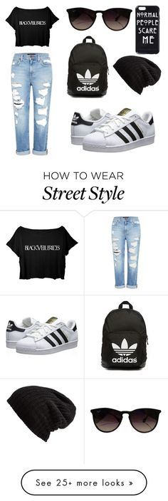 """""""street style casual"""" by ejvenida on Polyvore featuring Genetic Denim, adidas Originals, Free People and Ray-Ban"""