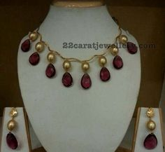 22 carat gold very simple yet trendy beads necklace. Large south sea pearls, tourmaline drops hanging necklace with drops earrings, whic. Gold Jewellery Design, Bead Jewellery, Beaded Jewelry, Jewelery, Ruby Jewelry, India Jewelry, Wedding Jewelry, Gold Jewelry, Stylish Jewelry