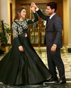 Image may contain: 2 people, people standing Indian Wedding Outfits, Indian Outfits, Moda India, Engagement Dress For Bride, Bridal Dresses, Prom Dresses, Reception Gown, Bridal Lehenga, Indian Designer Wear