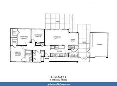 Naval Complex San Diego – Admiral Hartman Neighborhood: 3 bedroom 2 bath home floor plan (1395 SQ FT).
