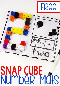 Grab these super cute free printable snap cube number mats for kindergarten! They are a great way to work on number recognition and counting with your kindergarteners! We love our snap cubes! #snapcube #mathprintables via @lifeovercs