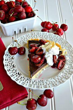 ~Chocolate Cherry Tart with Almond Whipped Cream~