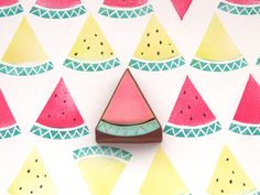Etsy のWatermelon stamp, Rubber stamp, Scrapbooking, Japanese stamp, Handmade stamp, Kawaii summer gift, Holiday cards, Japanese stationery, Craft(ショップ名:JapaneseRubberStamps)