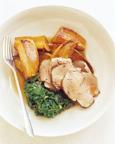 Pork Tenderloin With Honeyed Butter | Martha Stewart Living - Pork always makes an excellent centerpiece to dinner menus. This one, browned in butter and honey, would be perfect with creamy sides like mashed potatoes or yams, or creamed spinach.