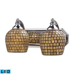 Bath And Spa 2 Light LED Vanity In Polished Chrome And Gold Leaf Glass by Elk Lighting Group