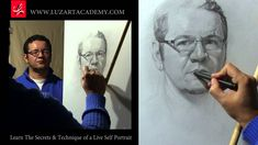 Draw a Self Portrait looking at the mirror (time lapse)