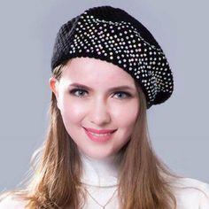 6106aea868f14 Shiny Rhinestones knit beret hat for women casual winter hats