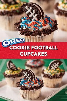 OREO Cookie Football Cupcakes Recipe - Bring the Big Game to life in your home with your very own enticing Cookie Football Cupcakes. - Best Picture For Big Game Cupcake Recipes, Cookie Recipes, Cupcake Cakes, Dessert Recipes, Game Recipes, Fun Cupcakes, Football Cupcakes, Football Food, Football Desserts