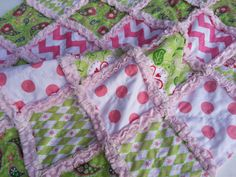 PHOTO (SALE) - Baby Rag Quilt, Minky Blanket Riley Blake Pink Sage Sugar And Spice Ready To Ship 29x35 $50