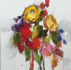 "Kimberly Kiel - Coming Up Roses II - 16"" x 16"" - oil on canvas"