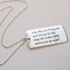Sun Moon Inspirational Quote Necklace