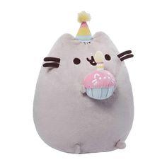 Grande peluche douce avec cupcake d'anniversaire Pusheen