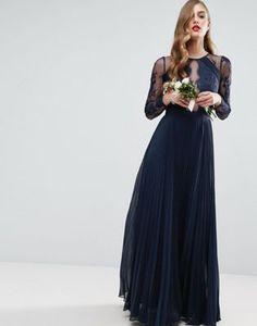 ASOS WEDDING - Vestito lungo plissettato in pizzo sfrangiato