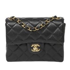 47518d102143 View this item and discover similar structured shoulder bags for sale at -  Classic Mini Flap Bag in black quilted caviar leather with long chain strap  ...