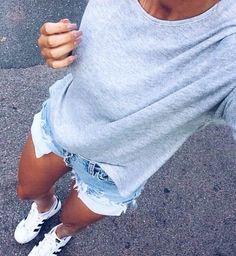 grey sweater + denim shorts