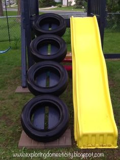 Great way to make a tire ladder. Add this to the list of stuff for the kids swing!