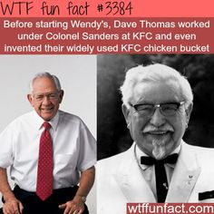 Wendy's founder worked for KFC founder – WTF fun facts – Connie Vaughn – fun… – Historical Figures Wtf Fun Facts, True Facts, Funny Facts, Random Facts, Crazy Facts, Random Stuff, What The Fact, Fact Of The Day, Kfc