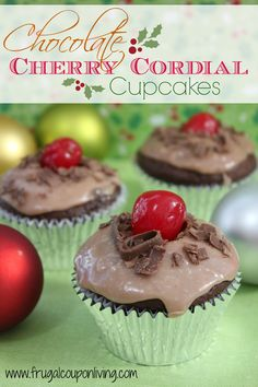 Frugal Coupon Living Chocolate Cordial Cupcakes Recipe - Chocolate Cherries Devils Food Cake for Dessert this Holiday or Christmas Season. Pin to Pinterest.