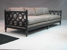 love dark wood sofas with white upholstery.