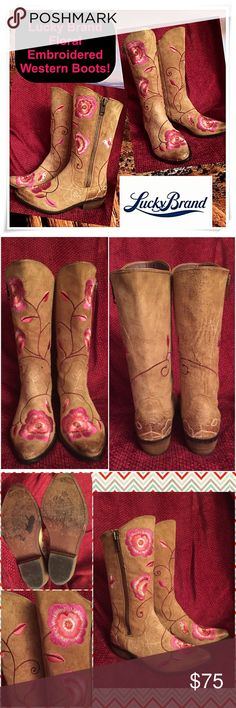 "Lucky Brand Floral Embroidered Western Boots! Lucky Brand Floral Embroidered Western Boots! Features: 100% authentic Lucky Brand, pink flowers & butterflies embroidery, tan suede leather, outside zippers, wood heel & leather soles. Cool Country Western to Boho to Rockabilly style. Some ext scratches & wear. Nice natural distressed look. Sz 7M. Fits true to size. 11 1/2"" tall (shaft ht), 4"" widest across, 1 1/2"" heel, 10 1/2"" from toe to heel (against wall). 11 1/2"" around ankle (ext), 14…"