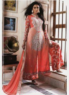 Perfervid Resham Work Georgette Cream and Peach Designer Palazzo Suit