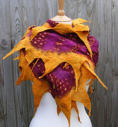 Angela Shannon/folkowl - Sunset Nuno Felt African Cotton Wrap