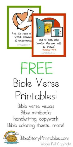 Great Bible Memory Verse Printables for Children's church or Sunday School.