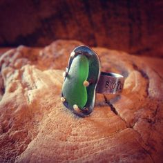 """Michigan Sea Glass Sterling Silver Ring """"Build Your Kingdom Here"""". $55.00, via Etsy.    The Rend Collective Experiment Lyrics. Love them!"""