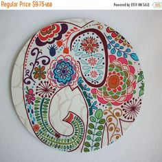 SALE - Mouse Pad mousepad / Mat - round - Pretty Elephant - Computer Accessories Geekery Custom Desk Coworker Gifts Office Gifts