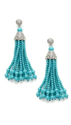 BEADED TASSELS Turquoise and G |