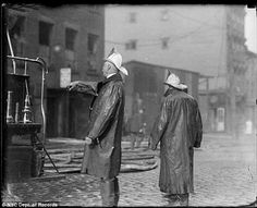 Assessing: Two fire chiefs are seen at the scene of fire - one may be Chief 'Smokey Joe' Martin, according to New York City's records Whiskey Lounge, Smokey Joe, Firefighter Pictures, Firemen, Fire Engine, Fire Department, Fire Trucks, Old School, New York City