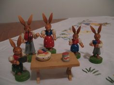 1960's Germany Easter Bunny Family-Set 6-Wood