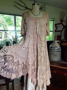 Luv Lucy crochet dress Vintage Tea Dress by LuvLucyArtToWear, $375.00