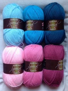 Stylecraft Special DK colour pack in pink and blue balls of yarn 'Harlequin' Granny Stripe Crochet, Granny Stripe Blanket, Love Crochet, Crochet Yarn, Knitting Yarn, Crochet Hooks, Afghan Patterns, Crochet Patterns, Yarn Color Combinations