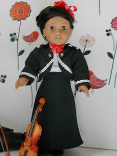 Mariachi charra suit traje black gabardine silver trim for American Girl doll 18 in Mariachi Suit, American Girl, Dress Up, Suits, Trending Outfits, Violin, Silver, Doll, Play