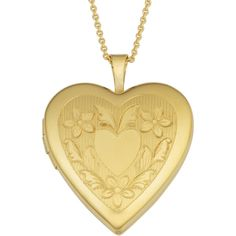 Fremada Yellow Gold Over Brass Floral Border Heart Locket on Gold... ($21) ❤ liked on Polyvore featuring jewelry, necklaces, accessories, yellow, pendants & necklaces, heart pendant necklace, heart locket necklace, gold heart necklace and gold chain necklace