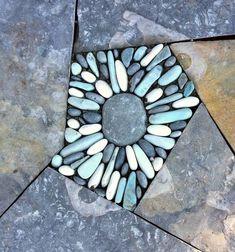 Pebbles — Winding Path Custom Stone Masonry pebble inlay in a dry laid flagstone walk Mosaic Rocks, Pebble Mosaic, Stone Mosaic, Mosaic Art, Rock Mosaic, Mosaic Walkway, River Rock Landscaping, Landscaping With Rocks, Landscaping Ideas