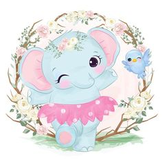 Cute Animals Images, Cute Wild Animals, Adorable Animals, Cute Hippo, Cute Baby Elephant, Elephant Illustration, Cute Animal Illustration, Baby Elefante, Baby Girl Drawing