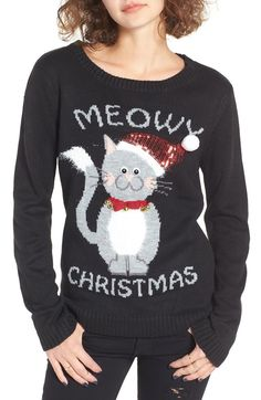 Meowy Christmas - Ugly Christmas Sweater for the Crazy Cat Lady.