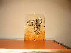 słoń malowany na szkle (elephant)