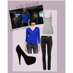 """Kate Beckett: High Blue V-neck"" by alexandratate on Polyvore"