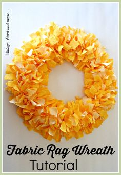 Vintage, Paint and more... Bright Spring wreath made from strips of torn fabric