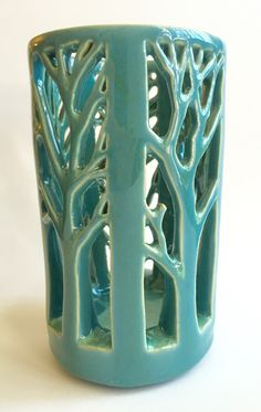 Tree Lantern. Hand carved porcelain luminary. Robbins egg blue.  Handmade ceramic piece by Quigley Ceramics