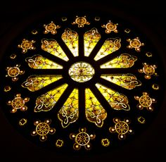 Sunflower Stained Glass in Church